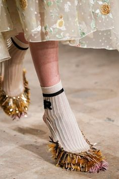 Shoe Daydreams: Iconic for Spring 2015 RTW - Rochas Tinsel Fringe Slingbacks
