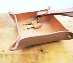 Idea - Webelos Craftsman: Leather Catchall Tray [could tie the corners with plastic lacing]