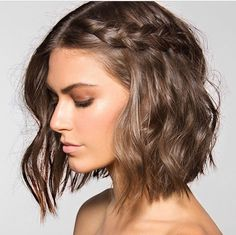 Braid for Short Wavy Hair. Now that I've chopped all my hair off, I wonder if I can pull this hairstyle off. Good Hair Day, Great Hair, Hair Today, Hair Dos, Gorgeous Hair, Pretty Hairstyles, Hairstyle Ideas, Crimped Hairstyles, Hairstyle Braid