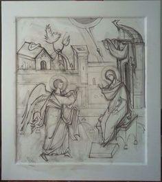 Благовещение Stages Of Writing, Archangel Gabriel, Byzantine Art, Catholic Art, Art Icon, Orthodox Icons, Sketch Design, Drawing S, Fresco
