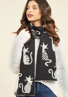 Ever the Ailurophile Scarf. Everyone from close pals to random passersby will know youre a committed cat person with this wooly scarf! #black #modcloth