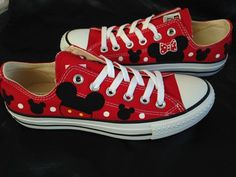 Mickey and Minnie Inspired Hand painted Converse Shoes Disney Converse, Converse Shoes, Shoes Sneakers, Disney Toms, Painted Converse, Painted Sneakers, Hand Painted Shoes, Disney Shirts, Disney Outfits