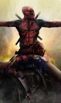 Deadpool, wonder woman, art, 480x800 wallpaper