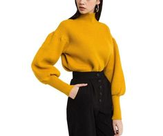 On Second Thought: Mustard Yellow Puff Sleeve Turtleneck Sweater with Tapered Wrists Sweater Fashion, Denim Fashion, Tabata, Elegante Y Chic, Mellow Yellow, Mustard Yellow, Womens Fashion Uk, Casual Outfits, Cute Outfits