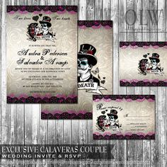 Day of the Dead Wedding Invitation and RSVP   by OddLotEmporium, $45.00