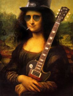 #Monalisa looking like #Slash #art #cool #rock #style