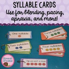 Syllable Cards {blending pacing apraxia and more!}