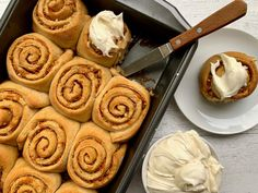 Our Carrot Cake Cinnamon Rolls are the closest you'll get to eating cake for breakfast. Sweet Roll Recipe, Thing 1, Breakfast Cake, Breakfast Ideas, Breakfast Recipes, Rolls Recipe, Sweet Bread, Carrot Cake, Coffee Cake