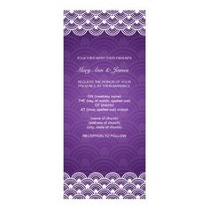 Elegant Wedding Scalloped Pattern Purple Personalized Invite   $2.15
