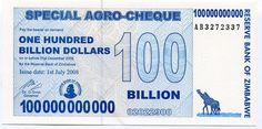 ZIMBABWE 2008 RARE 100 BILLION DOLLARS AGRO CHECK UNC - P 64 - AB PREFIX