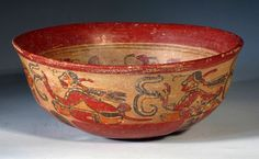 Maya Copador Bowl - Scribes and Turkeys. Pre-Columbian, Honduras / El Salvador, ca 800 to 1000 CE. Copan style polychrome bowl decorated with turkeys on interior and scribes exterior. x PROVENANCE: Ex-Pasadena, CA collection acquired in the Maya, Minoan, Indigenous Art, Antiquities, South America, Aztec, 1980s, Turkey, Pottery
