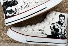 b2d5abb20ee62e Elvis Presley Hand Painted Shoes High Top White Canvas Sneaker C