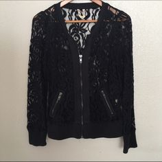 FREE PEOPLE SZ M LACE BOMBER JACKET SHEER FLORAL As seen, beautiful almost new :) Free People Jackets & Coats
