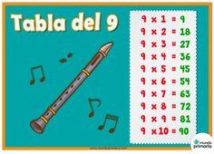 Tabla del 9 con instrumentos musicales, la flauta