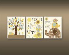Kinder Wand Kunst Kinderzimmer Dekor / / Baby Boy Zimmer Kunst / Set 3 8 x 10 / / Kinderzimmer Wand Kunst / / gelb grau braun Teal / / Elefant, ABC, Alphabe