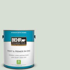 BEHR Premium Plus 1-gal. #ppl-47 Sage Tint Zero VOC Satin Enamel Interior Paint