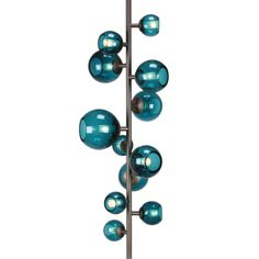 Brass and turquoise glass floor lamp by Pouenat