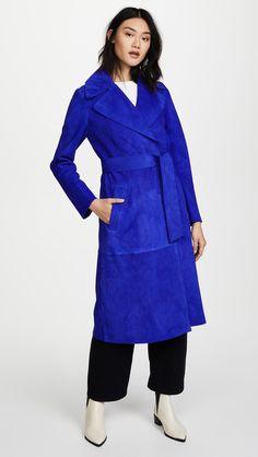 Diane von Furstenberg Suede Trench Coat Electric Blue