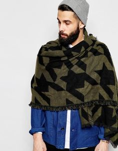 ASOS Blanket Scarf In Oversized Houndstooth In Black And Khaki