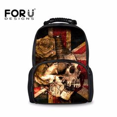 75e05833f98c FORUDESIGNS Skull Vintage Backpack for Teenager Boys Men Backpacks Student  School Book Bag Retro Large Bagpack