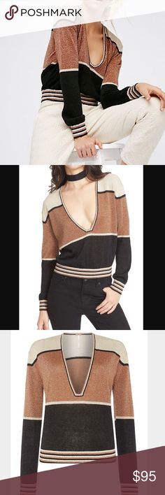 NWT Free People Gold Striped Sweater New with tags. Super lightweight pullover with a structured V-neckline and stretchy, ribbed band at the waist. Features metallic fibers strewn throughout with stripe details. Free People Tops