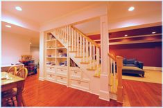 Custom design built-in storage under the basement stairs design ideas pictures Westchester NY Under Basement Stairs, Space Under Stairs, Basement Storage, Stair Storage, Basement Built Ins, Redo Stairs, Staircase Storage, Built In Shelves, Built In Storage