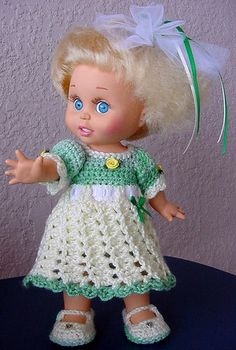 Crochet Green Yellow Dress Set for Galoob Baby Face Doll by Dolldarlings