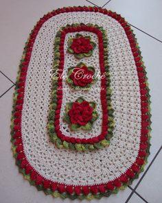 """Elo Crochê by Eloiza Castro: Tapete Oval com Flores em Crochê """"Florência"""" (Com ..."""