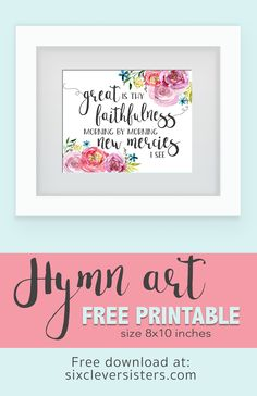 Ready for spring decor? This free scripture printable hymn art is a beautiful reminder of God's faithfulness and new mercies! Print and add to your home for some lovely decor! Diy Gifts For Him, Diy Gifts For Friends, Gifts For Coworkers, Friend Gifts, Hymn Art, Scripture Art, Bible Art, Printable Bible Verses, Printable Quotes