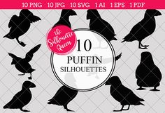 Puffin Silhouette Vector Graphics includes PNG files with transparent backgrounds at The PNGs are approximately 10 inches at it's widest point. Pine Tree Silhouette, Silhouette Clip Art, Animal Silhouette, Black Silhouette, Silhouette Studio, White Bird Tattoos, Puffins Bird, Animal Cutouts, Cross Stitch Bird