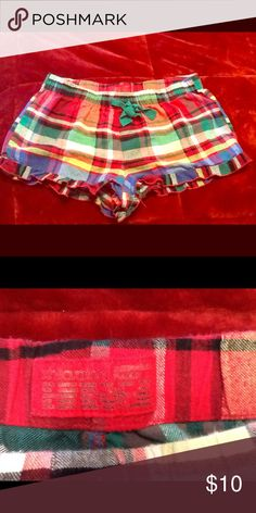 Xhilaration PJ Shorts Very cute, colorful plaid sleep shorts! I would keep but they are much too small for me, I've gained weight. 😞 Only worn once by me, in good condition. Xhilaration Intimates & Sleepwear Pajamas
