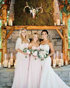 A Tennessee Wedding at the Couple's Log Cabin Home   Martha Stewart Weddings - Bridesmaids wore blush-colored strapless dresses by Jenny Yoo.