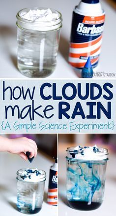 Simple Science Experiment: How Clouds Make Rain! Just need a jar, water, shaving cream and some food dye. Mrs. Jones Creation Station