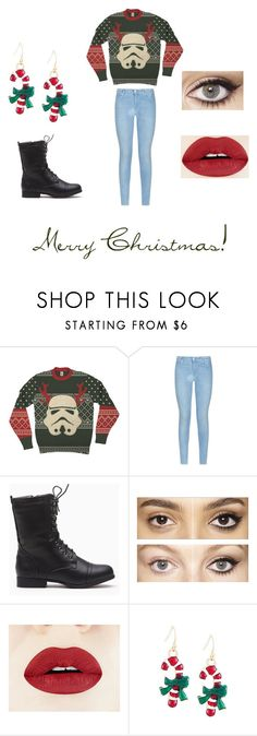 """""""Merry Christmas!"""" by sydclaire ❤ liked on Polyvore featuring 7 For All Mankind, Charlotte Tilbury, starwars, christmassweater, Christmas2015 and SydClaire"""