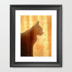 Cat silhouette Framed Art Print by Grandmachismo - $31.00