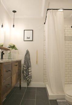 tiny Bathroom Decor Before amp; After: A Tiny Bathroom Gets a Stylish Space-Maximizing Makeover Tiny Bathrooms, Small Bathroom, Bathroom Ideas, Dark Floor Bathroom, Bathroom Showers, Glass Bathroom, Shower Ideas, Bathroom Sinks, Bathroom Designs