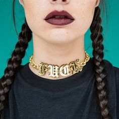 Fuck Choker (345 VEF) ❤ liked on Polyvore featuring jewelry, necklaces, chain link necklace, letter necklace, choker jewelry, initial jewelry and choker necklace