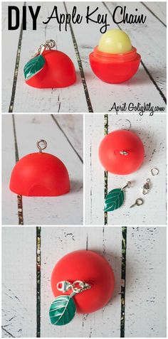 Best DIY EOS Projects - DIY Apple Key Chain - Turn Old EOS Containers Into Cool Crafts Ideas Like Lip Balm, Galaxy, Gumball Machine, and Watermelon - Fun, Cheap and Easy DIY Projects Tutorials and Videos for Teens, Tweens, Kids and Adults http://diyprojectsforteens.com/diy-eos-projects