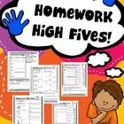 Preparing homework has never been easier! Your students and their parents will be giving you  high fives with these weekly homework packs.    Here ...