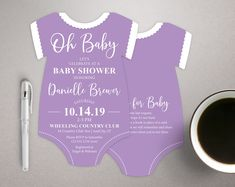 Purple Baby Shower Invitations, Bodysuit shaped invites, die cut invitation, Baby Girl invitations, Lavender invites, printed with envelopes