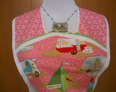 Retro Style Full Pullover Apron in Pink Glamping Print