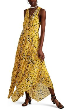 203e2d7743b8 Derek Lam 10 Crosby Women s Abstract-Dot-Print Pleated Dress - Yellow