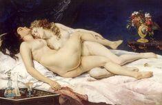 Le sommeil, par Gustave Courbet Courbet, qui ouvre la voie du Réalisme au milieu du XIXe siècle, reste en marge de l'art officiel grâce au soutien de quelques collectionneurs. Son originalité s'affirme tout particulièrement lorsqu'il représente la femme.