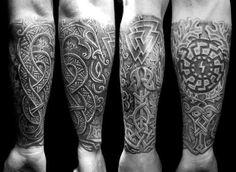 Black Sun, Valknut, Sig-rune - a really nice composition!  #NorseTattoo