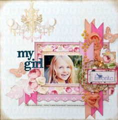 My Girl *Websters Pages* - Scrapbook.com toned down would look good. border, punched, ribbons on side, etc