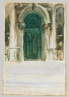 Green Door, Santa Maria della Salute / John Singer Sargent/ ca. 1904 / Watercolor, graphite, gouache, and wax crayon on white wove paper