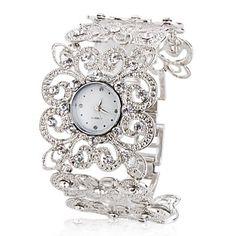 Relógio de Mulher com Correia em Flores (Prateado) – USD $ 6.29