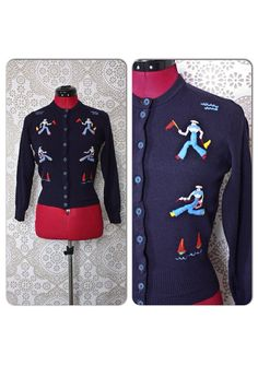 Vintage 1940's 50's Navy Blue Sailor Print Novelty Sweater XS by pursuingandie, $95.00