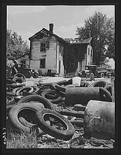 Photograph of an auto junk yard taken in 1943. #junkyard #photography