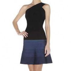 236954368a55 Herve Leger Latest Black and Blue Sadie Single Shoulder A-line Bandage Dress